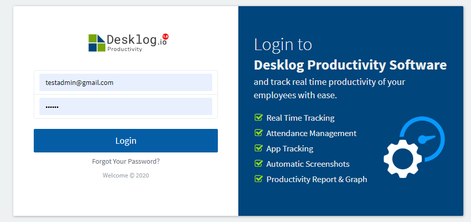 Desklog productivity login